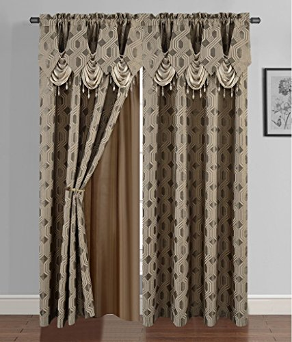 Golden Linen Luxury Curtain/Window Panel Set Ragad Collection 2pc Curtain Set with Attached Valance and Backing 55