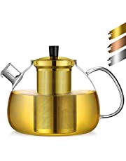 ecooe Tekanna glas tebryggare 1500–2000 ml med avtagbar sil av rostfritt stål glaskanna uppvärmning på spisen