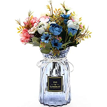 UltraOutlet 3 Packs Artificial Peonies Silk Flowers with Vase DIY Faked Peony Flowers Bouquets Arrangement Centerpiece for Wedding, Baby Shower, Birthday Party, Home Decoration