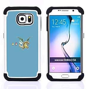 """Samsung Galaxy S6 / SM-G920 - 3 en 1 impreso colorido de Altas Prestaciones PC Funda chaqueta Negro cubierta gel silicona suave (Divertidos dragones"""")"""