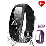 Fitness Tracker - Ronten R7 Plus Fitness Watch With Heart Rate Monitor - Waterproof Activity Tracker - Wireless Bluetooth Smart Bracelet with Replacement Strap for Android & IOS (Black+Purple(strap))