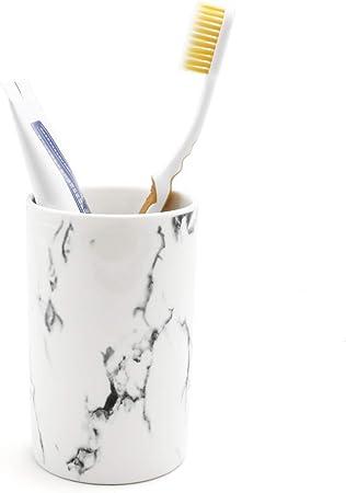 WENKO Vaso higiene dental Terrazzo para cepillos y pasta de dientes Multicolor 8 x 10.5 x 8 cm Soporte para cepillos de dientes Poliresina