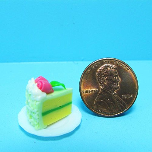 Dollhouse Miniature Slice of Cake Lt Green Frosting with Roses on Top - My Mini Fairy Garden Dollhouse Accessories for Outdoor or House Decor by New Miniature