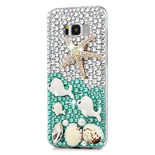 Galaxy S8 Active Case, STENES 3D Handmade Luxury Crystal Starfish Dolphin Shell Sparkle Rhinestone Design Cover Bling Case Samsung Galaxy S8 Active Retro Bows Anti Dust Plug - Blue
