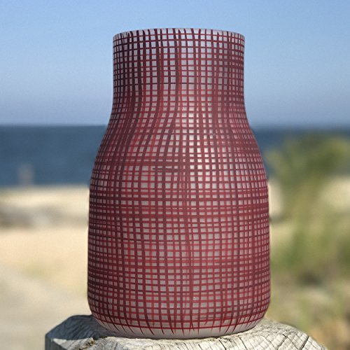 Light Red Matte (The Grammercy Grids Frosted Festive Red Vase, Hand Painted Art Glass, Matte Finish, For Flowers, Candles and LED String Lights, 9 inches High, By Whole House Worlds)