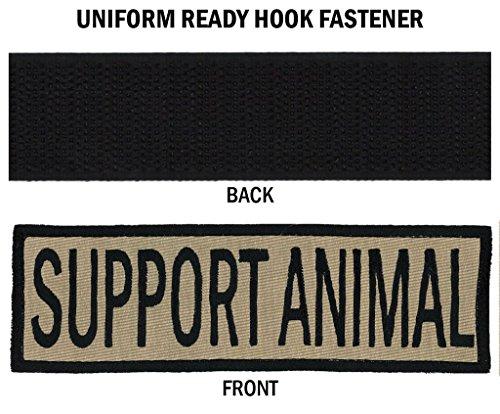 SUPPORT ANIMAL Embroidered Patch with Border! OVER 50 Fabrics to choose! SAME DAY SHIP! MADE IN THE USA! Sew On or Hook Fastener. Coyote Tan Fabric 5
