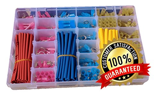 Heat Shrink Terminal, Connector, and Tubing Kit, 400Pcs with Case | Best for Electrical, Marine and Automotive Wire. 255 Connectors and 145Pcs Assorted Heat Shrink Tubing.
