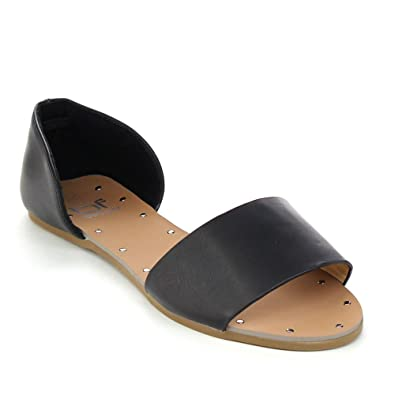 Sonya-1 Women's Easy Slip On Open Toe D'Orsay Flats Sandals