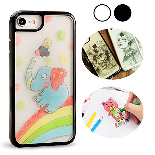 A+case iPhone 8/7/6s case DIY Graffiti cover clear full for Apple iphone 4.7 protection sleeve anti-drop (Black)