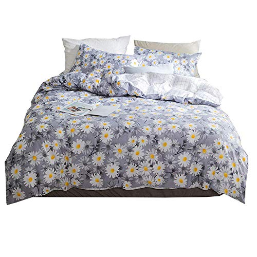 AMWAN Vintage Floral Girls Duvet Cover Set Full Queen Luxury Flower Print Kids Bedding Set Cotton Reversible Plaid Duvet Cover and Pillowcases 3 Piece Teens Children Women Bedding Cover Set, Style5 by AMWAN