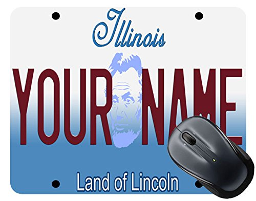 BleuReign(TM) Personalized Custom Name Illinois State License Plate Square Mouse Pad
