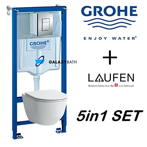 GROHE WC FRAME+LAUFEN PRO RIMLESS WALL HUNG TOILET PAN WITH