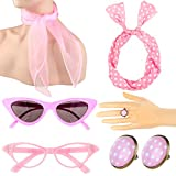 1950's Womens Costume Accessories Set Chiffon Scarf Bandana Tie Headband Cat Eye Glasses Earrings Ring Necklace for Party (Pink)