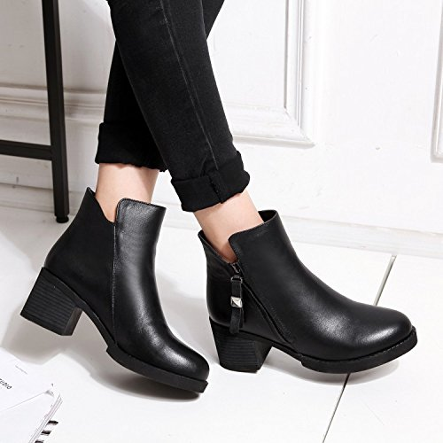 120W thick pointed ankle tassel leather Women's boots BLACKDOWN a for NSXZ comfortable wxqZRPt