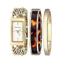 Anne Klein Women's AK/1668GBST Rectangular Gold-Tone Double Chain Dress Watch and Bracelet Set