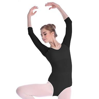 bf9b7cdea Amazon.com  Mesh Bodysuit for Women Ballet Dance Leotards 3 4 Sleeve ...