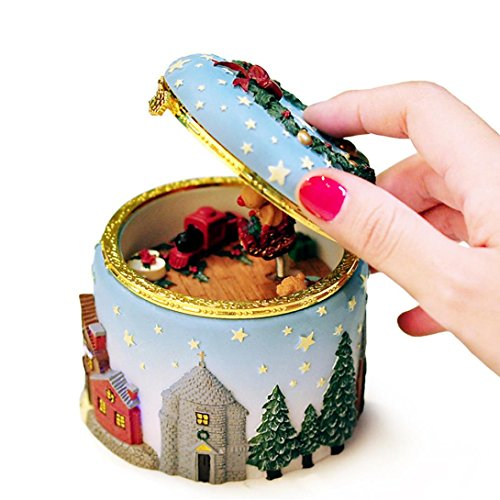 FENZL Glowing Vintage Music Box ,Christmas Elk Christmas Tree Trinket Box Birthday Gift (A) (Opera Box The Phantom Of Monkey Music)