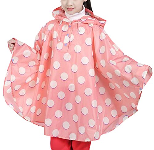 Suplove children Round Dot Hooded Waterproof Cloak Poncho Lightweight Raincoats (Pink, S)