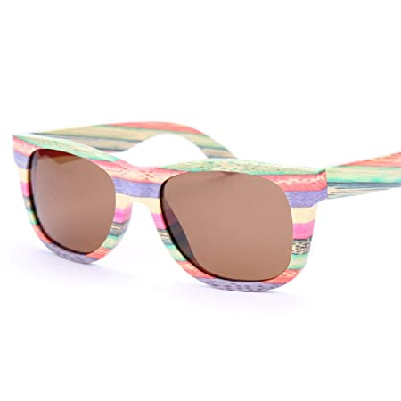 19d9bb6faee1 SUNGLASSES Retro Polarized Colored Bamboo Wood Glasses Unisex Outdoor Sports  Eyewear Polarized glasses (Color   BROWN)  Amazon.co.uk  Kitchen   Home