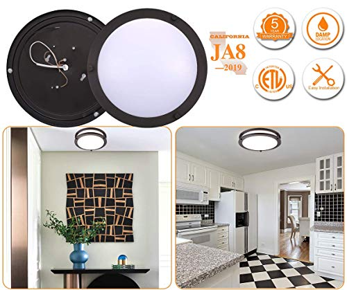 Cloudy Bay LED Flush Mount Ceiling Light,10 inch,17W(120W equivalent) Dimmable 1050lm,3000K Warm White,Oil Rubbed Bronze Round Lighting Fixture For Kitchen,Hallway,bathroom,Stairwell, ETL/JA8