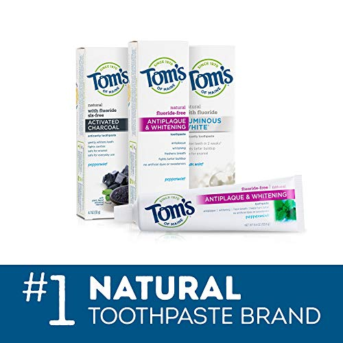Tom's of Maine Fluoride-Free Antiplaque & Whitening Natural Toothpaste, Peppermint, 5.5 oz. 2-Pack (Packaging May Vary)