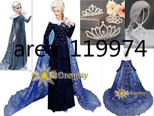 新作 ★豪華版 アナと雪の女王家族の思い出 エルサ コスプレ衣装+髪飾り