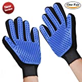 Carpow 2018 Upgraded extended from 180 silicone tips to 259 tips Pet Grooming Glove for Massage Magic Hair & fur Remover & pets with Long and Short Fur Breathable Washing Deshedding Massage Tool
