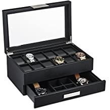 Watch Box with Valet Drawer for Men - 12 Slot Luxury Watch Case Display Organizer, Carbon Fiber Design for Mens Jewelry Watches, The Men's Storage Boxes Holder Boasts a Large Glass Top, Metal Buckle