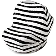 Glittery Gold Polka Dots & Stripes Multi Use Car Seat Canopy   Nursing Cover   Shopping Cart & High Chair Cover   Scarf   Best Baby Gift for Boys & Girls   Fits Infant Carseat & Breastfeeding Moms
