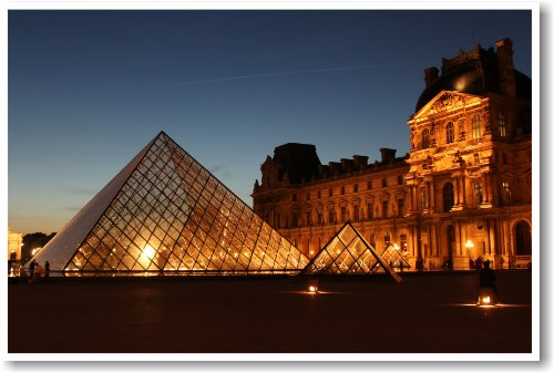Louvre Museum At Night, Paris France - NEW World Travel Poster