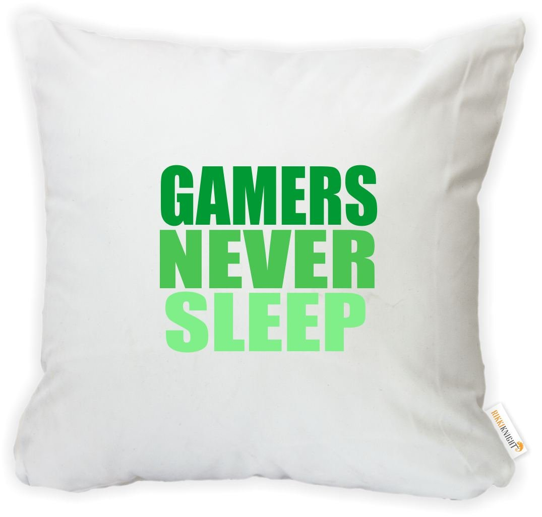 Printed in The USA Insert Included Rikki Knight 16 x 16 inch Rikki KnightGamers Never Sleep Green Microfiber Throw Pillow Cushion Square with Hidden Zipper