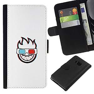 // PHONE CASE GIFT // Moda Estuche Funda de Cuero Billetera Tarjeta de crédito dinero bolsa Cubierta de proteccion Caso HTC One M7 / 3D FLAMING FACE /
