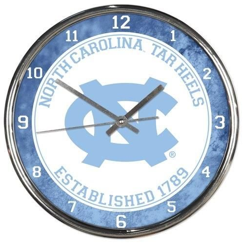 NCAA North Carolina Tar Heels Chrome Clock, 12