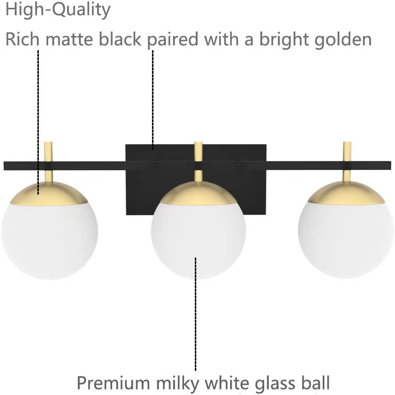 Ralbay Mid Century Modern Bathroom Vanity Lights 3-Light Milky Glass Modern Bathroom Vanity Lights Over Mirror, Black/Golden Wall Light Fixture for Bathroom (Exclude Bulb) - -