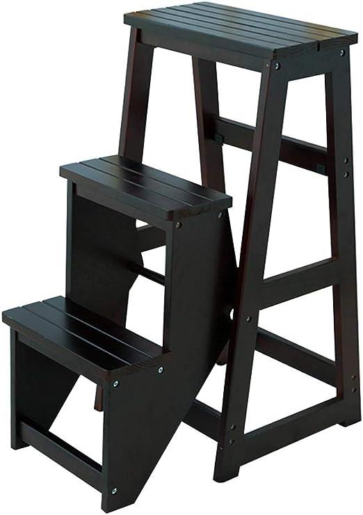 /étag/ère de rangement tabouret 3 couches adulte chaise chaise pour salle de bains biblioth/èque de meubles noir chaussures de changement banc Escabeau en bois multifonctions support de fleurs