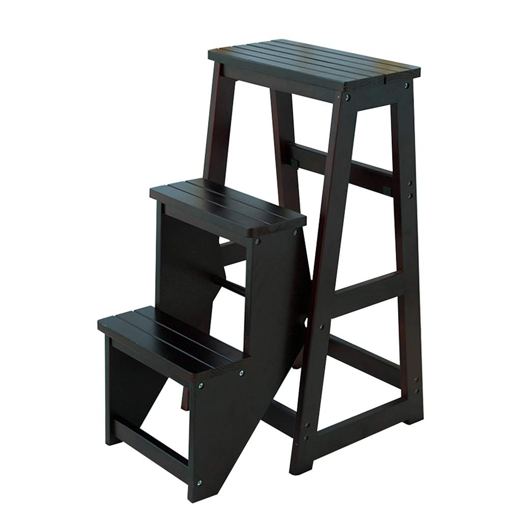 Black Ladder Stools Wooden with Legs Multi-function Folding Step Stool 3-layer Step Home Kitchen Bathroom Library Furniture