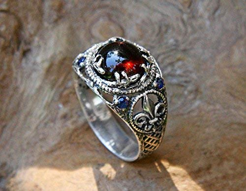 925 Sterling Silver Garnet Engagement Ring with Blue Sapphire