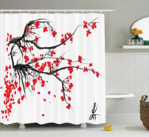 Nature Shower Curtain by Ambesonne, Sakura Blossom Japanese Cherry Tree Garden Summertime Vintage Cultural Print, Fabric Bathroom Decor Set with Hooks, 70 Inches, Grey and Vermilion