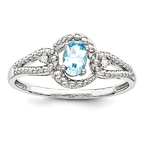 Sterling Silver Polished Open back Rhodium-plated Light Swiss Blue Topaz and Diamond Ring - Size ()