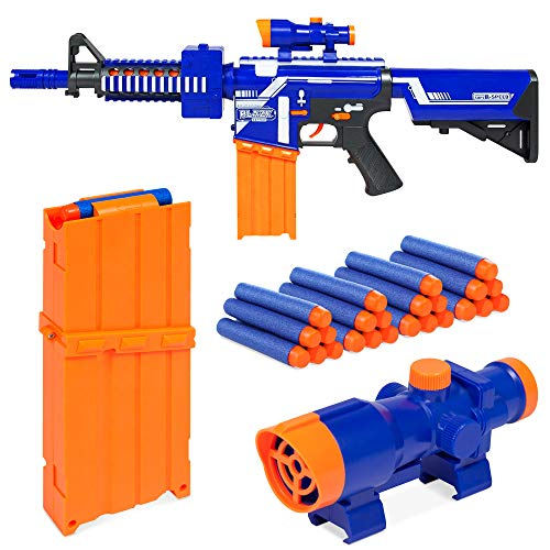 Best Choice Products Kids Soft Foam Semi-Automatic Dart Blaster Shooter Toy Gun w/ Load Cartridge, Sight Attachment, Long Distance Range, 20 Darts - Multicolor by Best Choice Products (Image #2)