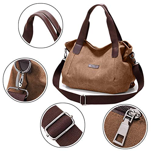 Large Brown1 Travel Women's Hobo Canvas Bag Nlyefa Shopping Office Handbag for School Handbag Bags Shoulder Tote wZgSCXqn