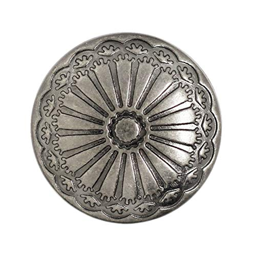 (Bezelry 12 Pieces Cactus Flower Metal Shank Buttons. 20mm (3/4 inch) (Gray Silver))