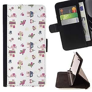 For Sony Xperia M4 Aqua Case , Papel regalo Modelo blanco lindo del dibujo- la tarjeta de Crédito Slots PU Funda de cuero Monedero caso cubierta de piel