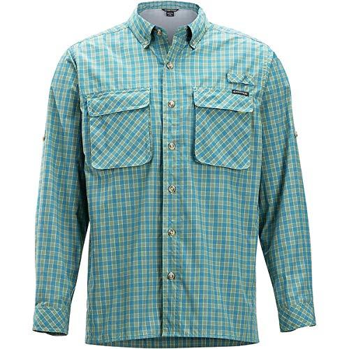 ExOfficio Men's Air Strip Gingham Long Sleeve Button Down Shirts, Citronella, Medium