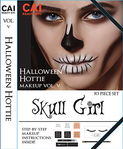 10-Piece Makeup Set Halloween Hottie Costume FX Face Paint Make Up Kit for Adults, Skull -