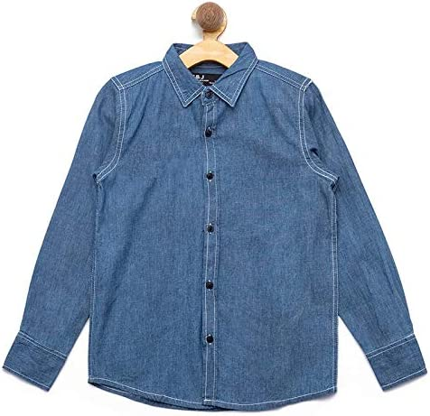 nick&jess Camisa vaquera de ajuste regular para niños de 3 a 12 años