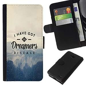 NEECELL GIFT forCITY // Billetera de cuero Caso Cubierta de protección Carcasa / Leather Wallet Case for LG OPTIMUS L90 // DREAMERS ENFERMEDAD TIPOGRAFÍA