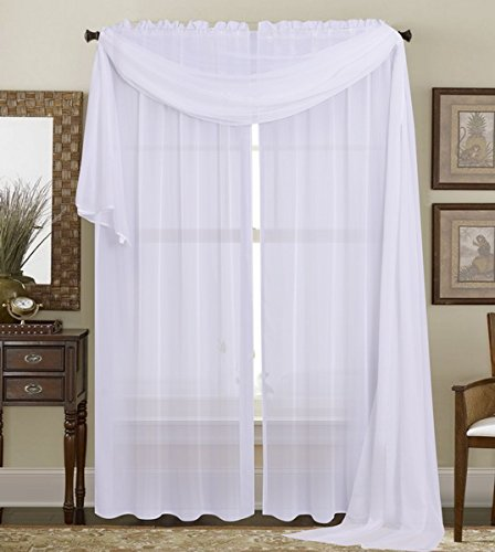 (Luxury Discounts 3 Piece Sheer Voile Curtain Panel Drape Set Includes 2 Panels and 1 Scarf (84