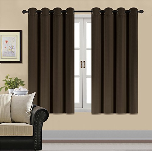 HCILY Blackout Velvet Curtains Brown 63 INCH Thermal Insulated for Bedroom 2 Panels (W52'' x L63'', Brown)