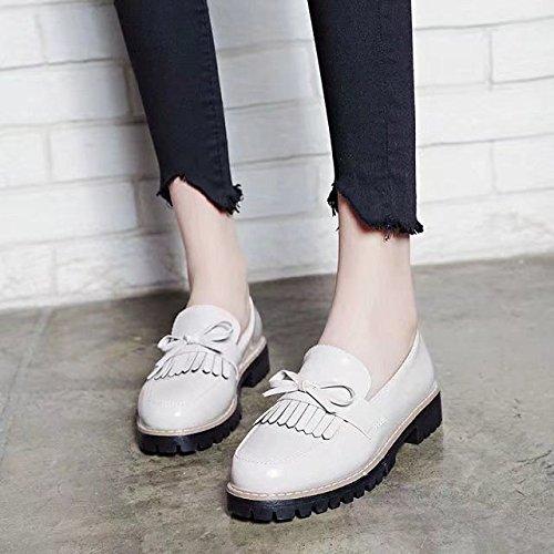 Cabeza Mujer luz de con Zapatos Zapatos de Zapatos de Shoes Estaciones de de Elegante Zapatos Las Mujer Cuatro Planos 38 Mujer Redonda Mujer Zapatos Zapatos Casual XXM Blanco qzHCv5w